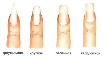 виды формы ногтей