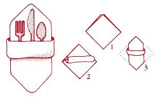 как сложить салфетки кармашком