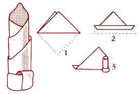 как складывать салфетки колонной